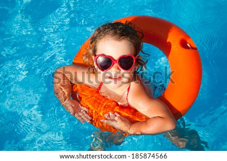 Happy Child Swimming - stock photo