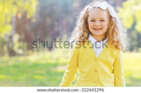 Happy child with autumn - stock photo