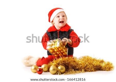 happy child with Christmas present - stock photo