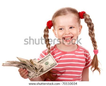 Happy child with money dollar. Isolated. - stock photo