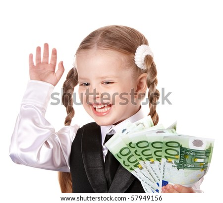 Happy child with money euro and credit card. Isolated. - stock photo