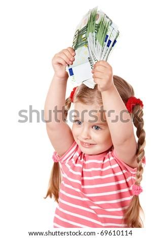 Happy child with money euro. Isolated. - stock photo