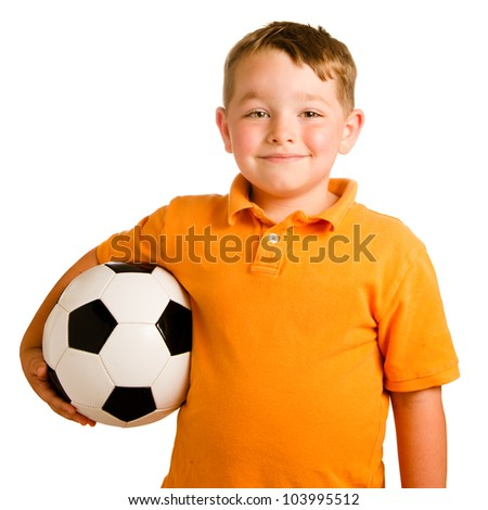 Happy child with soccer ball isolated on white - stock photo