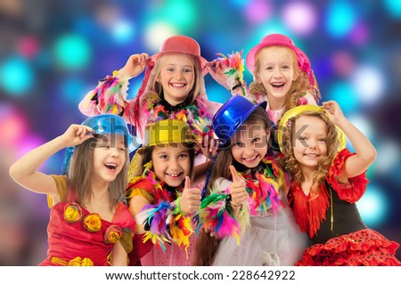 Happy children at the carnival - stock photo