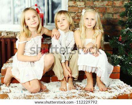 Happy children - Christmas holiday - stock photo