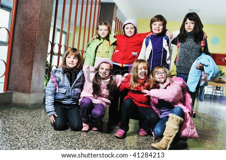 happy children group in school have fun and representing education  and teamwork concept - stock photo