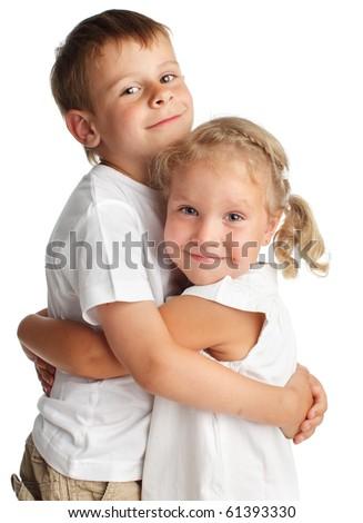 Happy children isolated on white - stock photo