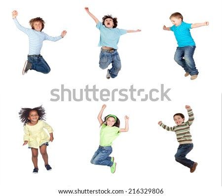 Happy children jumping isolated on a white background - stock photo