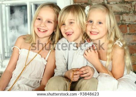 Happy children - kids friends - stock photo