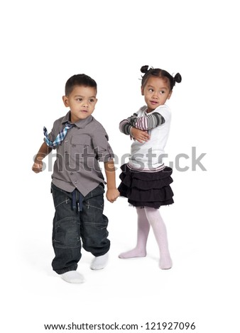 Happy children on white background,  and Kai Wall