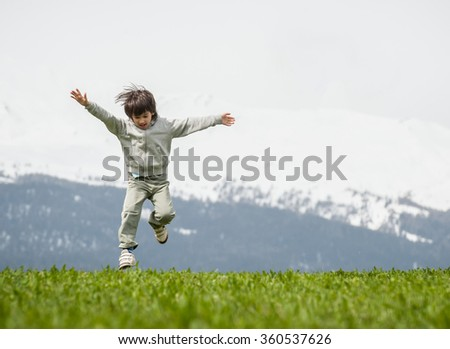 Happy children outdoor in nature - stock photo