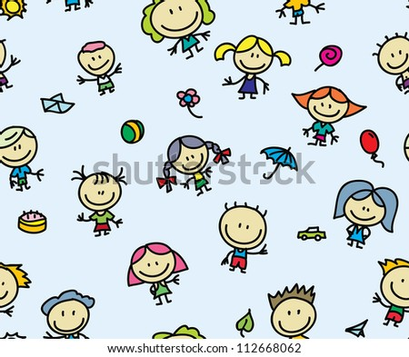 Happy children seamless background - stock photo