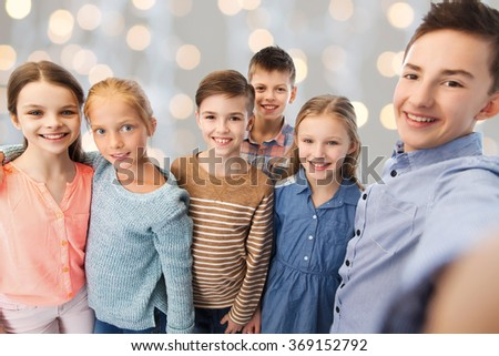 happy children talking selfie