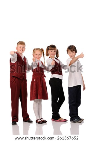 happy children together isolated over white background