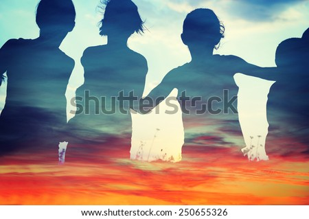 Happy children together running on clouds - stock photo