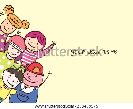 happy children with space to add text - stock photo