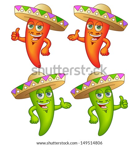 Happy chili peppers with hats. Great for any menu. Raster version, vector file also included in the portfolio. - stock photo