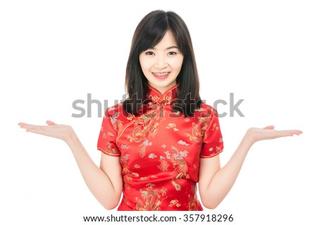 stock photo happy chinese new year attractive smiling asian woman dress traditional cheongsam or qipao 357918296