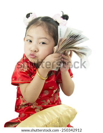 Happy Chinese new year .Cute Asian Girl In Tradition Chinese - stock photo