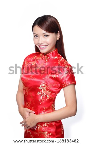 happy Chinese new year. smile young Asian woman dress traditional cheongsam  - stock photo