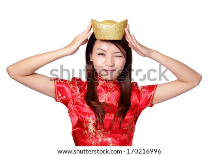 happy chinese new year. smiling asian woman showing gold for lucky. chinese mean get rich and happy - stock photo