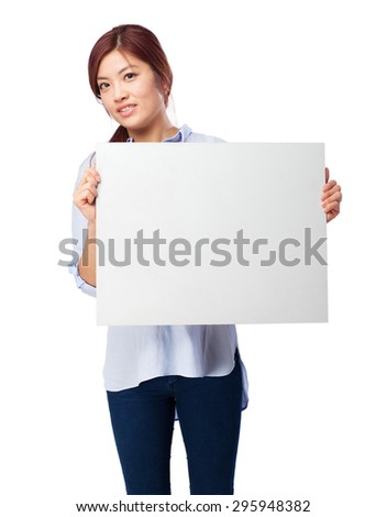 happy chinese woman with banner