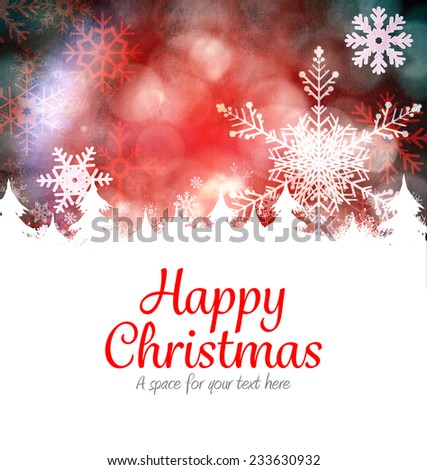 Happy christmas against red snow flake background - stock photo