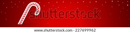 Happy Christmas Banner with Candy Cane - stock photo