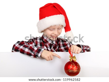 Happy Christmas child with the board on a white background.