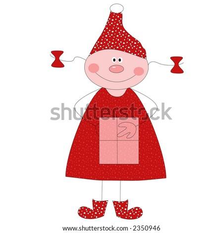 Happy Christmas Elf - stock photo