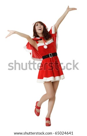 Happy Christmas girl open arms, isolated over white. - stock photo
