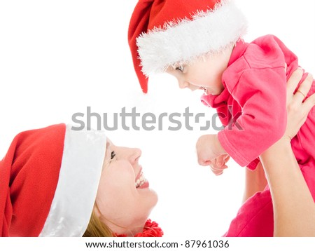 Happy Christmas mother and daughter on a white background. - stock photo