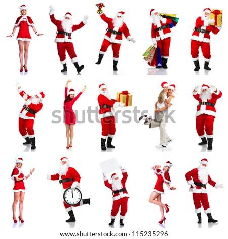 Happy Christmas Santa. Isolated over white background. - stock photo