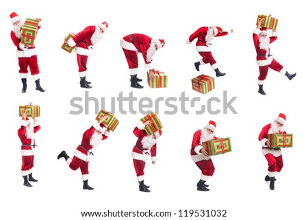 Happy Christmas Santa with gift. Isolated over white background - stock photo