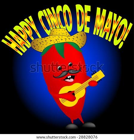 Happy Cinco De Mayo. Happy pepper singing - stock photo