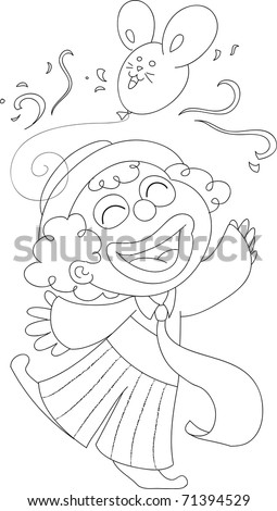 Happy clown playing with a balloon. Coloring illustration. - stock photo