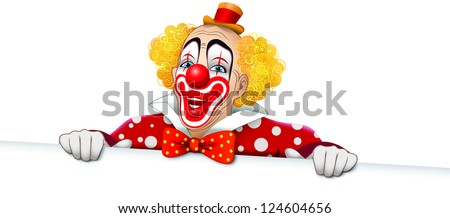 Happy clown with a polka dot dress and white sign - stock photo