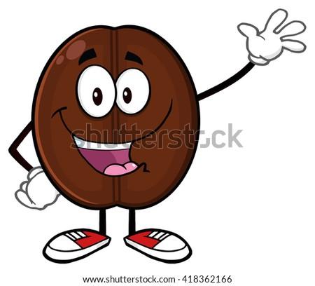 Happy Coffee Bean Cartoon Mascot Character Waving. Raster Illustration Isolated On White - stock photo