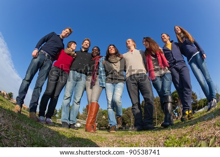 Happy College Students Group - stock photo