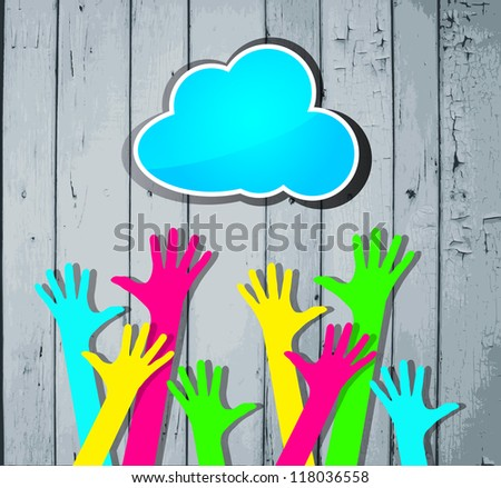 happy colorful hands with blue cloud on a striped wooden background