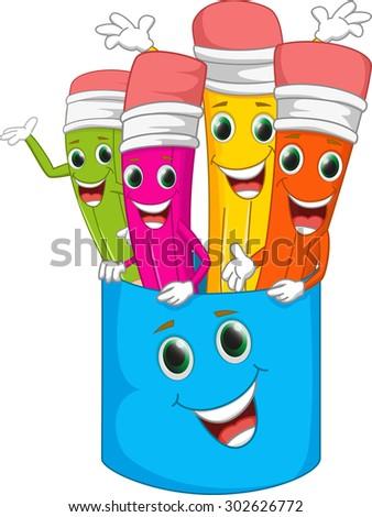 happy colorful pencil cartoon - stock photo