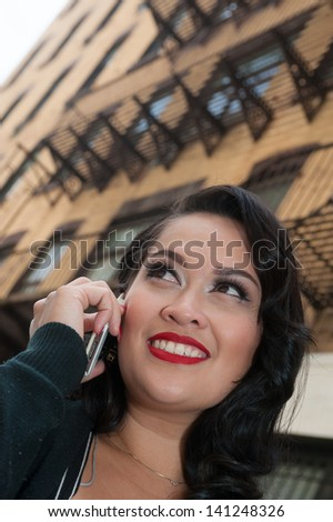 Happy confident business woman talking on mobile phone  - stock photo