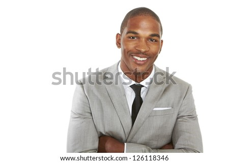 happy confident young african american business male smiling with confidence. - stock photo