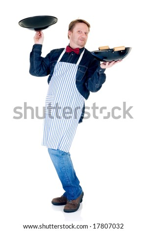 Happy cook showing wok on white background, reflective surface - stock photo
