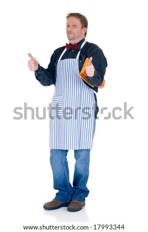 Happy cook with thumbs-up on white background, reflective surface - stock photo