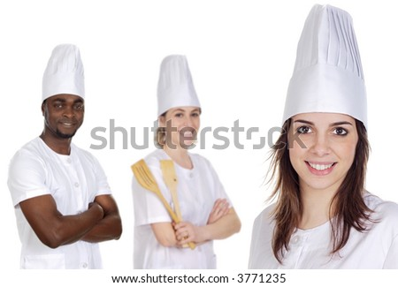 Happy cooks Team a over white background