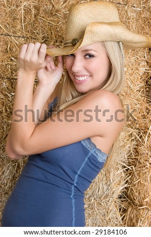 Happy Country Girl - stock photo