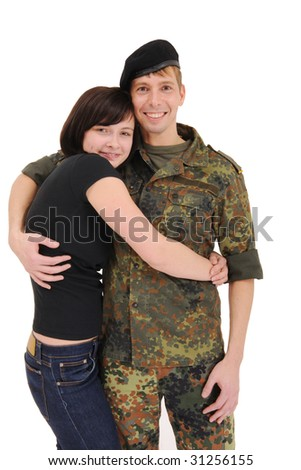 happy couple, a soldier and his girlfriend hugging and smiling