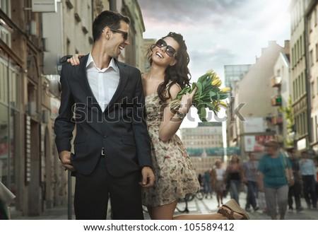 Happy couple dating - stock photo
