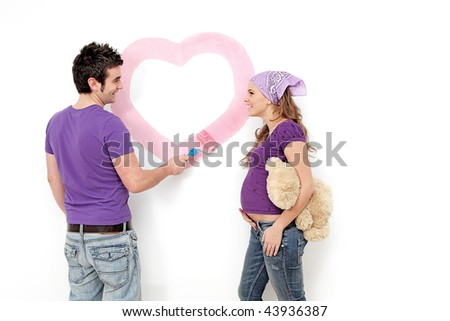 happy couple decorating first home,diy people - stock photo